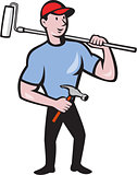 House Painter Holding Paint Roller Cartoon