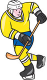 Ice Hockey Player Holding Stick Cartoon