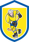 Ice Hockey Player With Stick Shield Cartoon