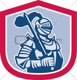 Knight Full Armor With Sword Shield Retro