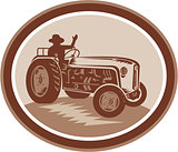 Vintage Farm Tractor Driver Waving Circle Retro