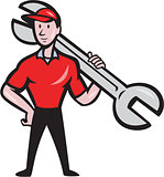Mechanic Hold Spanner On Shoulder Cartoon