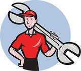 Mechanic Hold Spanner On Shoulder Circle Cartoon