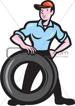 Tireman Mechanic With Tire Cartoon Isolated