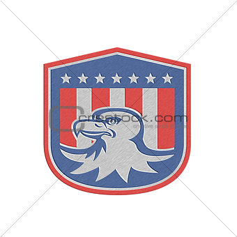 Metallic American Bald Eagle Head Flag Shield Retro
