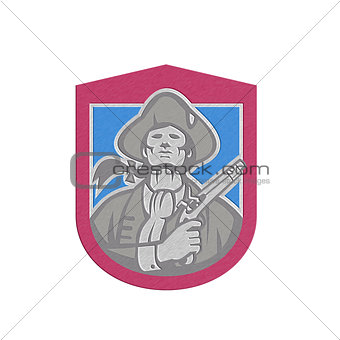 Metallic American Patriot With Flintlock Shield Retro