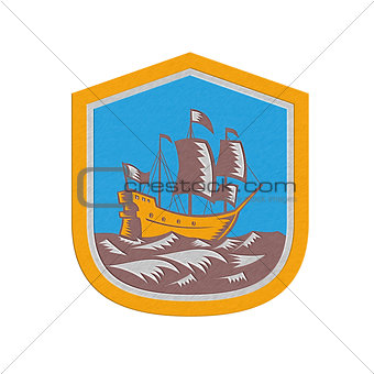 Metallic Sailing Ship Galleon Crest Retro Woodcut