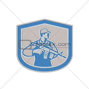 Metallic Soldier Military Serviceman Rifle Side Crest Retro