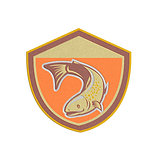 Metallic Trout Swimming Down Shield Retro