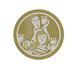 Metallic Woman Child Holding Apples Fruits Vegetables Circle Retro
