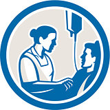 Nurse Tending Sick Patient Circle Retro