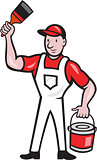 House Painter Holding Paint Can Paintbrush Cartoon