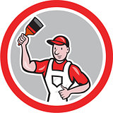 House Painter Holding Paintbrush Circle Cartoon