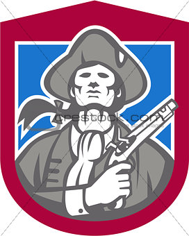 American Patriot With Flintlock Shield Retro