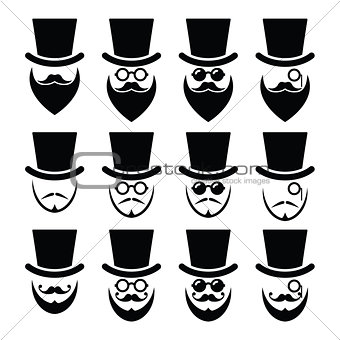 Man with hat with beard and glasses icons set