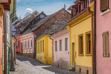 Street with colorful houses in Sighisoara