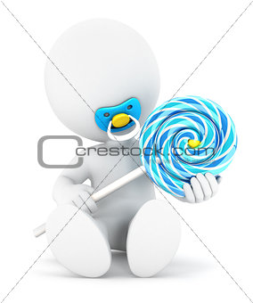 3d white people baby boy and a lollipop