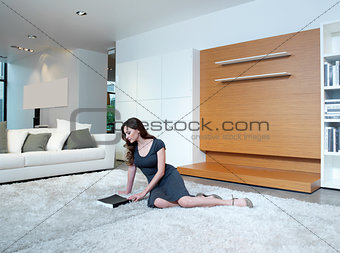 woman relaxing on floor