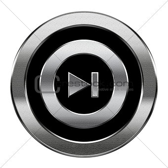 Forward icon silver, isolated on white background.
