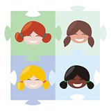 Happy multicultural girls matching on the puzzle vector illustration