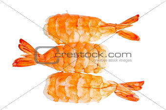 Three sushi shrimp and rice on a white background