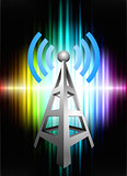Radio Tower on Abstract Spectrum Background