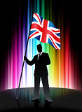 United Kingdom Flag with Businessman on Abstract Spectrum Backgr