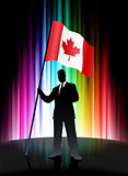 Canada Flag with Businessman on Abstract Spectrum Background