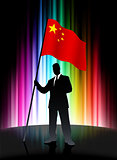 China Flag with Businessman on Abstract Spectrum Background