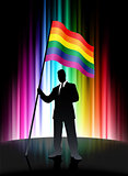 Gay Flag with Businessman on Abstract Spectrum Background