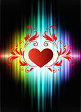 Floral Hearts on Abstract Spectrum Background
