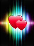Hearts on Abstract Spectrum Background
