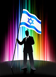 Israel Flag with Businessman on Abstract Spectrum Background