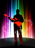 Live Musician on Abstract Spectrum Background