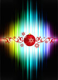 Christmas Decoration on Abstract Spectrum Background