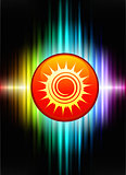 Sun Icon Button on Abstract Spectrum Background