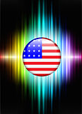 USA Flag Icon Button on Abstract Spectrum Background