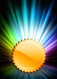 Gold Medal Icon Button on Abstract Spectrum Background