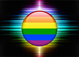 Gay Flag Icon Button on Abstract Spectrum Background