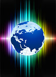Globe on Abstract Spectrum Background