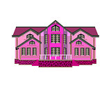 Pink wooden house icon on white background - Vector illustration