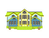 yellow house.  Isolated white background. art cute