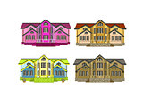 set of four houses with color changes art illustrqtion