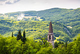 Italian Landscape: Spire in the Hills.