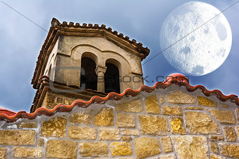 Old Byzantine Church with Moon