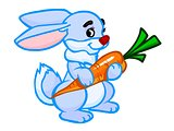 illustration of a friendly white rabbit with a carrot
