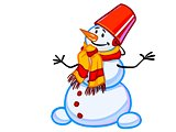 illustration of friendly snowman in a bucket and scarf
