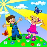 illustration of happy cartoon kids