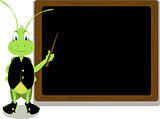 Mr. Cricket and a blackboard