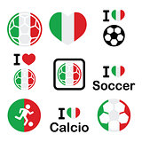I love Italian football, soccer icons set